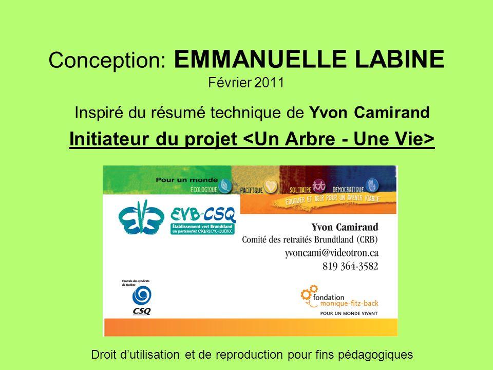 Conception: EMMANUELLE LABINE Février 2011 Inspiré du résumé technique de Yvon Camirand Initiateur du projet Droit dutilisation et de reproduction pou