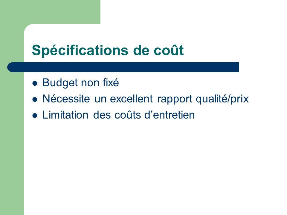 Spécifications de coût Budget non fixé Nécessite un excellent rapport qualité/prix Limitation des coûts dentretien