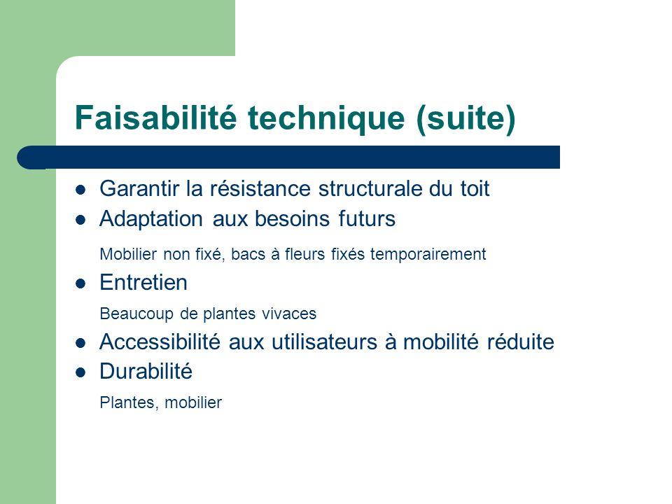 Faisabilité technique (suite) Garantir la résistance structurale du toit Adaptation aux besoins futurs Mobilier non fixé, bacs à fleurs fixés temporai