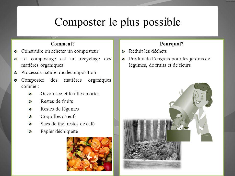 Comment? Construire ou acheter un composteur Le compostage est un recyclage des matières organiques Processus naturel de décomposition Composter des m
