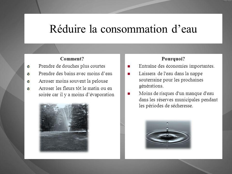Réduire la consommation deau Comment? Prendre de douches plus courtes Prendre des bains avec moins deau Arroser moins souvent la pelouse Arroser les f