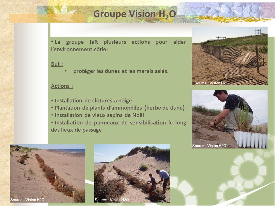 Groupe Vision H 2 O Le groupe fait plusieurs actions pour aider lenvironnement côtier But : protéger les dunes et les marais salés. Actions : Installa