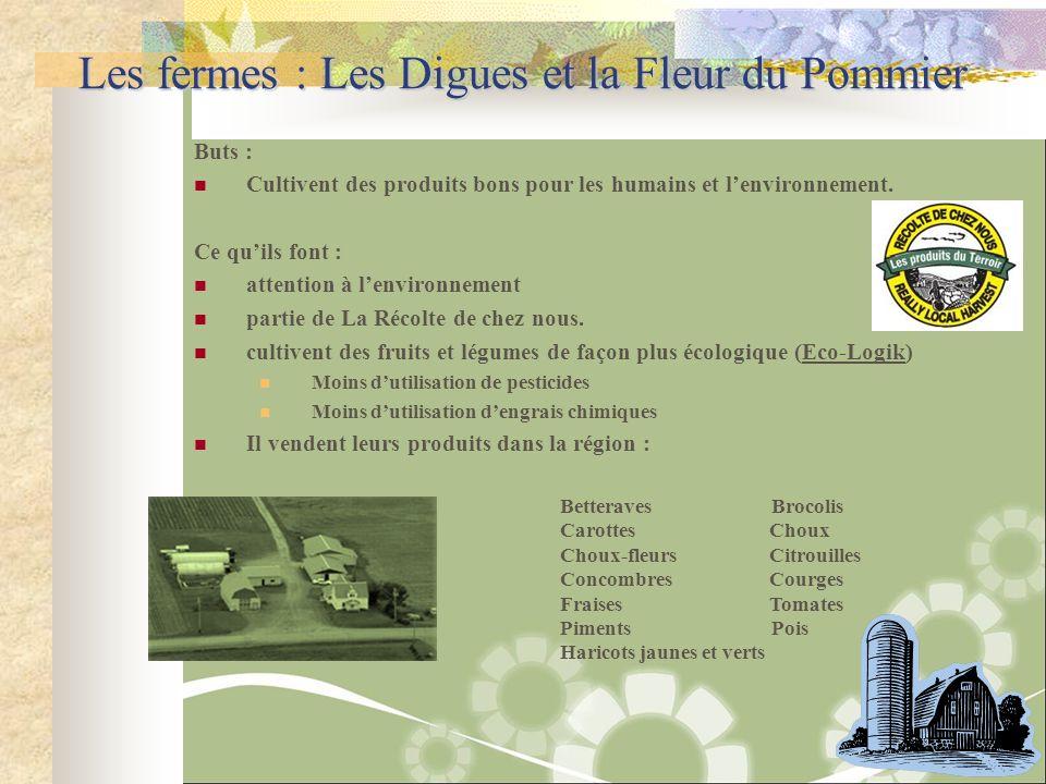 Les fermes : Les Digues et la Fleur du Pommier Buts : Cultivent des produits bons pour les humains et lenvironnement. Ce quils font : attention à lenv