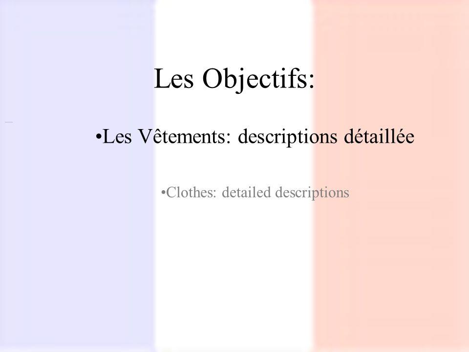 Les Objectifs: Les Vêtements: descriptions détaillée Clothes: detailed descriptions