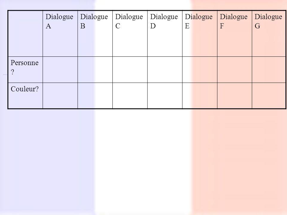 Dialogue A Dialogue B Dialogue C Dialogue D Dialogue E Dialogue F Dialogue G Personne ? Couleur?