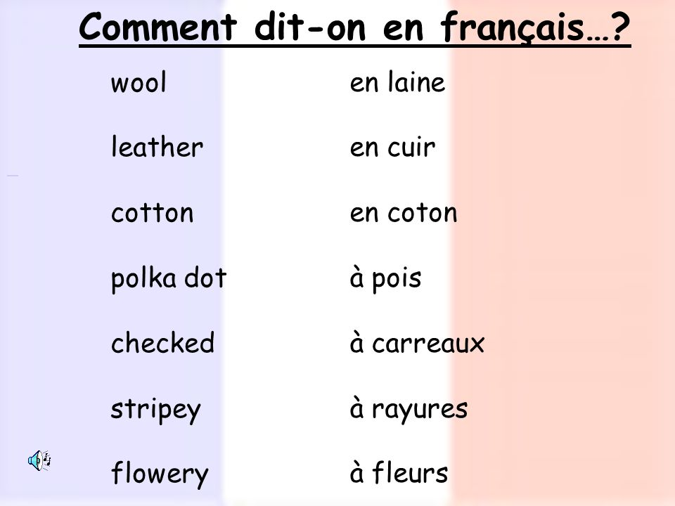 Comment dit-on en français…? en laine en cuir en coton à pois à carreaux à rayures à fleurs wool leather cotton polka dot checked stripey flowery