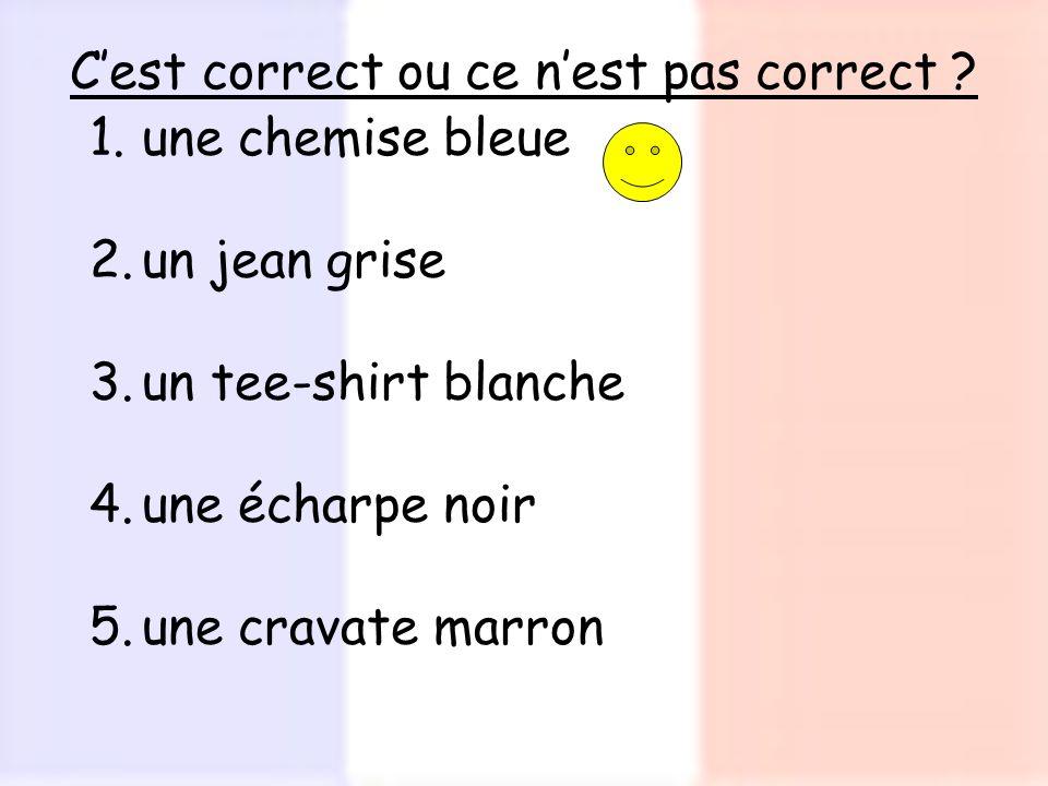 Cest correct ou ce nest pas correct ? 1.une chemise bleue 2.un jean grise 3.un tee-shirt blanche 4.une écharpe noir 5.une cravate marron