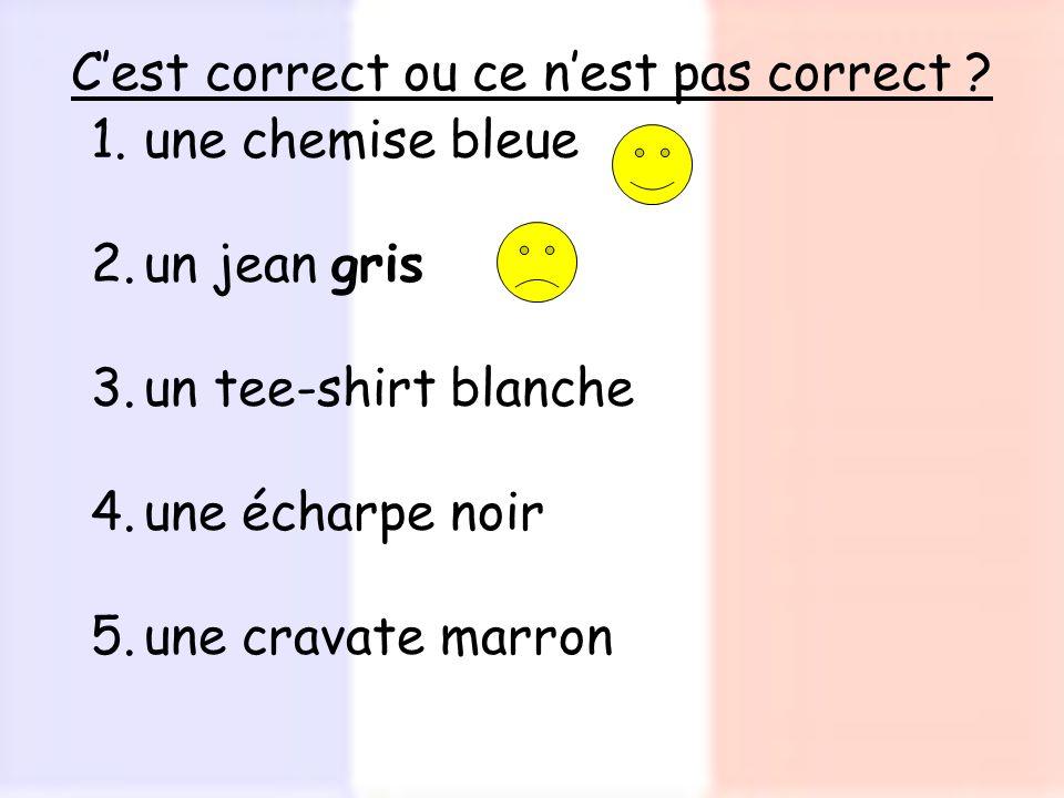 Cest correct ou ce nest pas correct ? 1.une chemise bleue 2.un jean gris 3.un tee-shirt blanche 4.une écharpe noir 5.une cravate marron