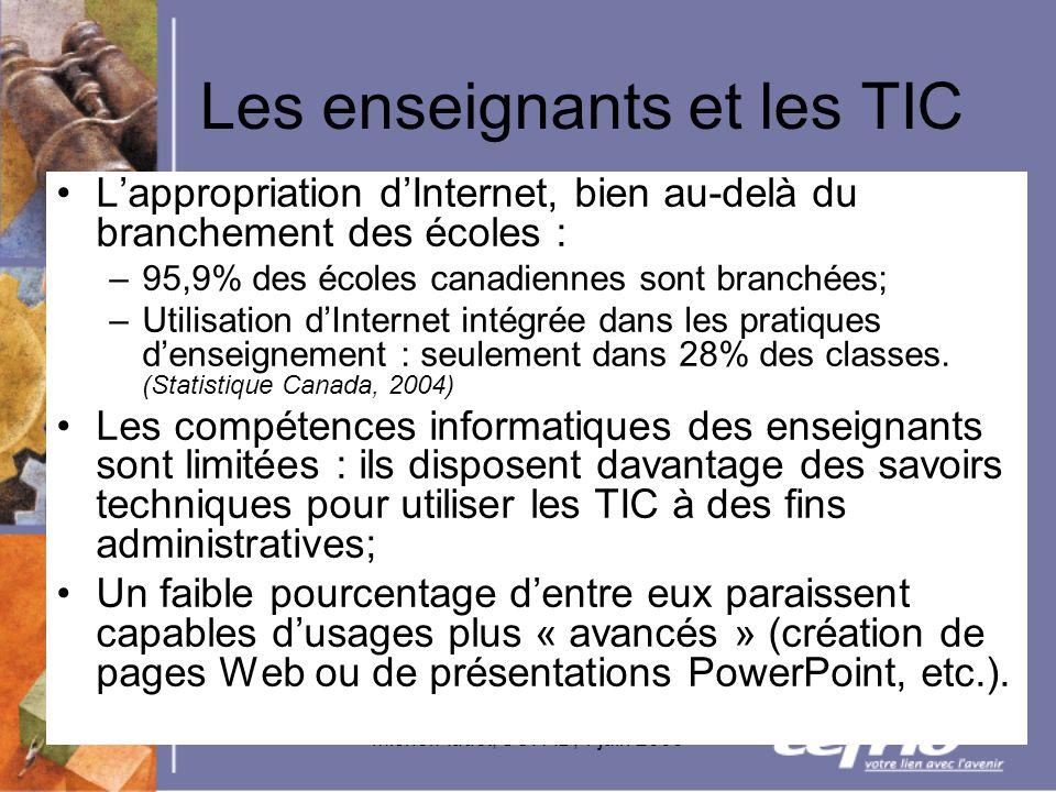 Michel Audet, SOFAD, 1 juin 2005 Les enseignants et les TIC Lappropriation dInternet, bien au-delà du branchement des écoles : –95,9% des écoles canad