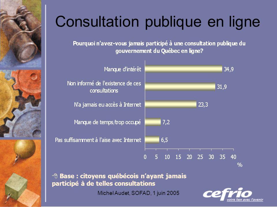 Michel Audet, SOFAD, 1 juin 2005 Consultation publique en ligne Base : citoyens québécois nayant jamais participé à de telles consultations %