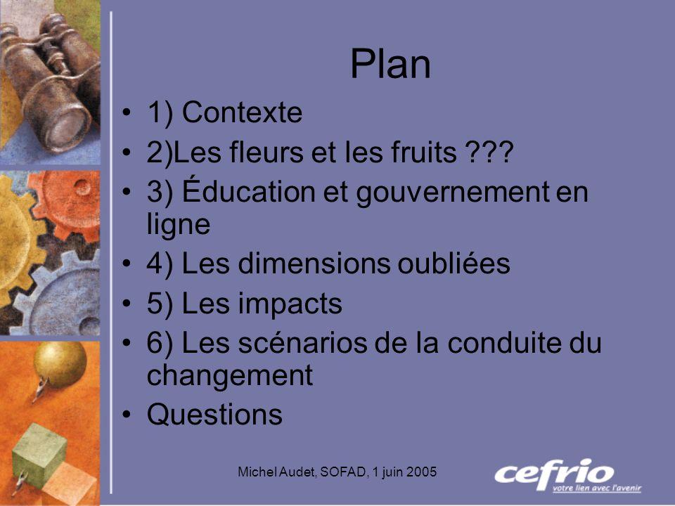 Michel Audet, SOFAD, 1 juin 2005 Plan 1) Contexte 2)Les fleurs et les fruits ??? 3) Éducation et gouvernement en ligne 4) Les dimensions oubliées 5) L