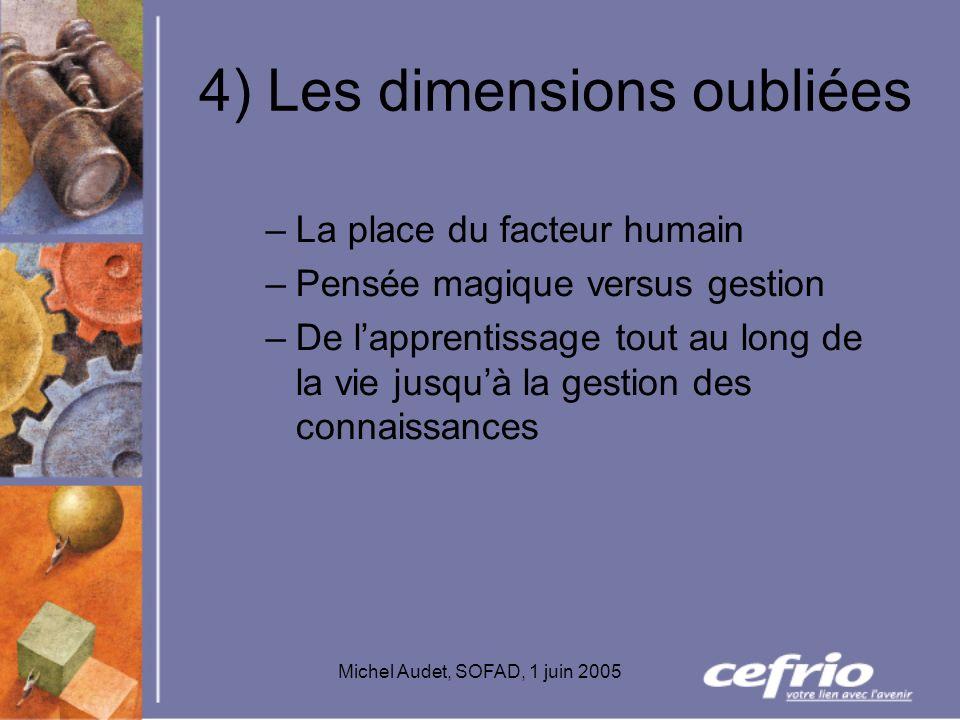 Michel Audet, SOFAD, 1 juin 2005 4) Les dimensions oubliées –La place du facteur humain –Pensée magique versus gestion –De lapprentissage tout au long