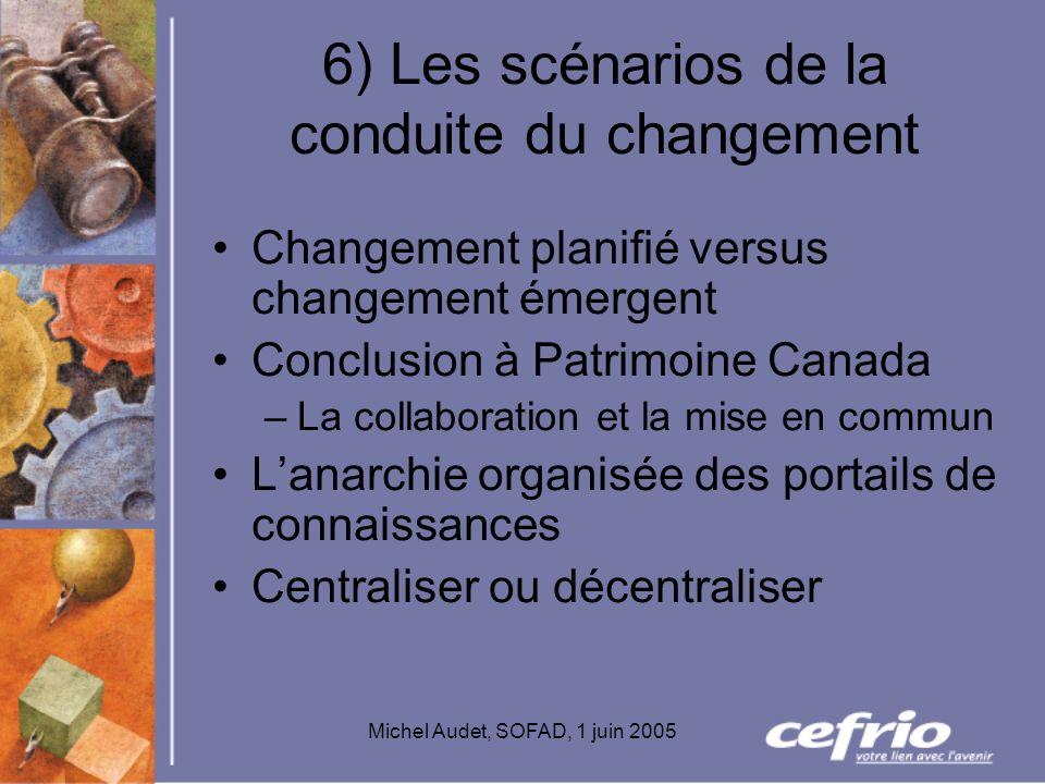 Michel Audet, SOFAD, 1 juin 2005 6) Les scénarios de la conduite du changement Changement planifié versus changement émergent Conclusion à Patrimoine