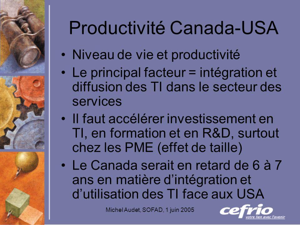 Michel Audet, SOFAD, 1 juin 2005 Productivité Canada-USA Niveau de vie et productivité Le principal facteur = intégration et diffusion des TI dans le