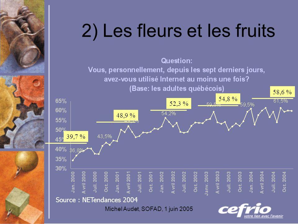 Michel Audet, SOFAD, 1 juin 2005 2) Les fleurs et les fruits 39,7 % 48,9 % 52,3 % 54,8 % 58,6 % Source : NETendances 2004