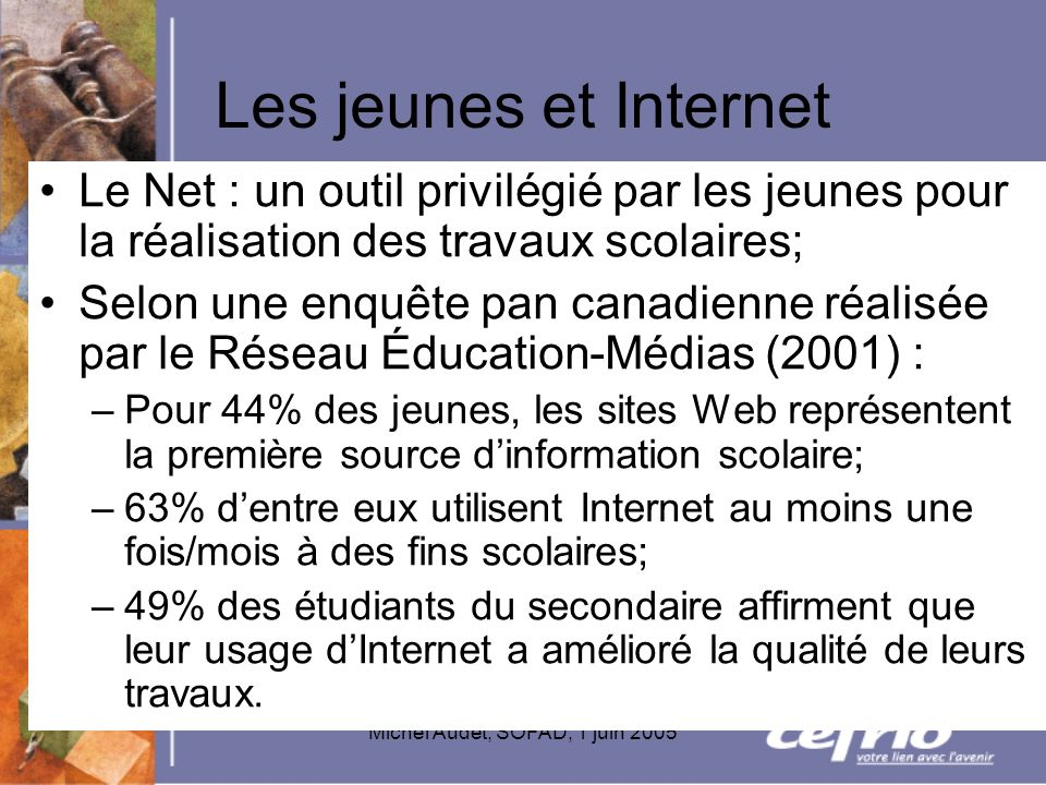 Michel Audet, SOFAD, 1 juin 2005 Les jeunes et Internet Le Net : un outil privilégié par les jeunes pour la réalisation des travaux scolaires; Selon u