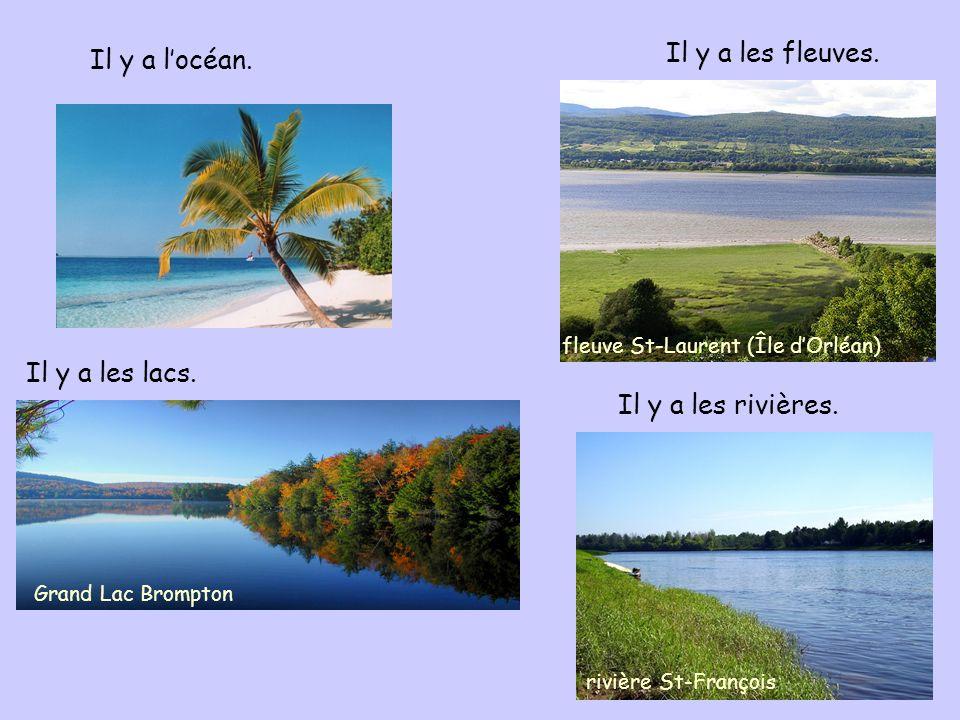 Il y a locéan. Il y a les fleuves. Il y a les lacs. Il y a les rivières. Grand Lac Brompton fleuve St-Laurent (Île dOrléan) rivière St-François
