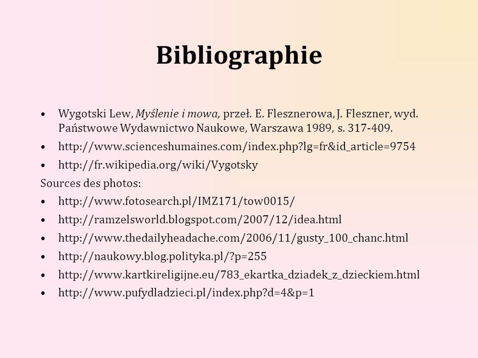 Bibliographie Wygotski Lew, Myślenie i mowa, przeł. E. Flesznerowa, J. Fleszner, wyd. Państwowe Wydawnictwo Naukowe, Warszawa 1989, s. 317-409. http:/
