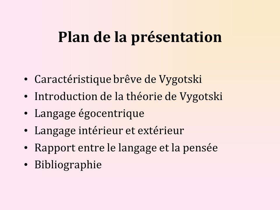 Plan de la présentation Caractéristique brêve de Vygotski Introduction de la théorie de Vygotski Langage égocentrique Langage intérieur et extérieur Rapport entre le langage et la pensée Bibliographie