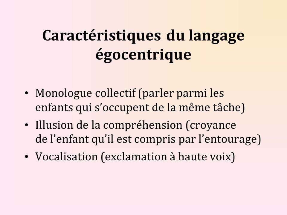 Caractéristiques du langage égocentrique Monologue collectif (parler parmi les enfants qui soccupent de la même tâche) Illusion de la compréhension (c