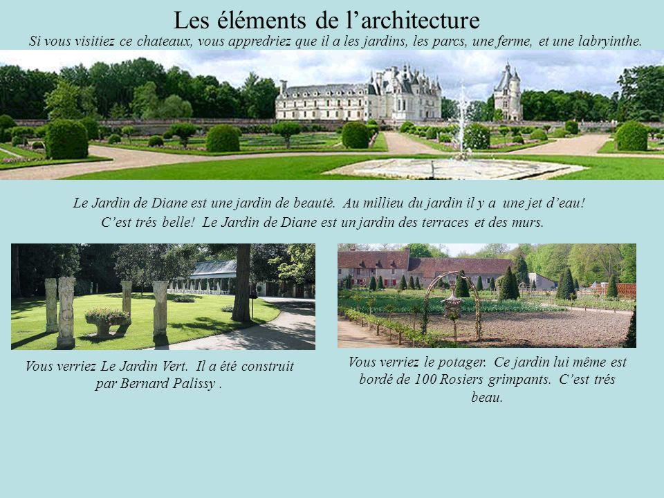 Les éléments de larchitecture Si vous visitiez ce chateaux, vous appredriez que il a les jardins, les parcs, une ferme, et une labryinthe. Le Jardin d
