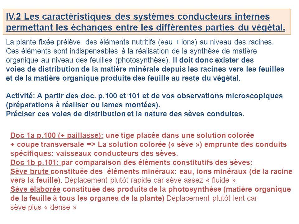 IV.2 Les caractéristiques des systèmes conducteurs internes permettant les échanges entre les différentes parties du végétal. La plante fixée prélève