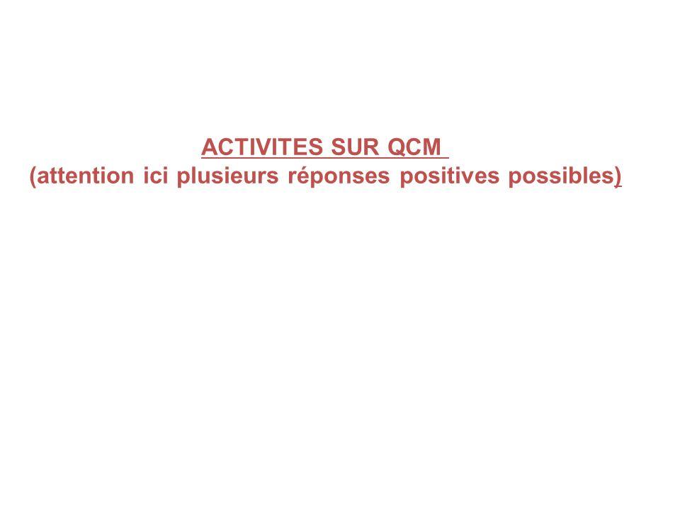 ACTIVITES SUR QCM (attention ici plusieurs réponses positives possibles)