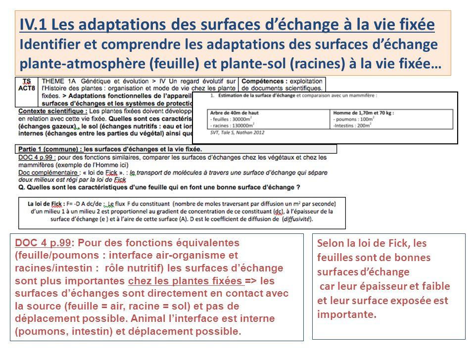 IV.1 Les adaptations des surfaces déchange à la vie fixée Identifier et comprendre les adaptations des surfaces déchange plante-atmosphère (feuille) e