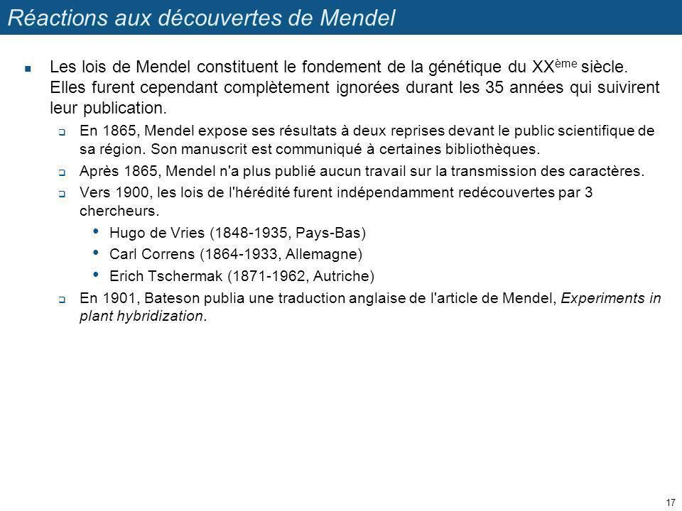 Réactions aux découvertes de Mendel Les lois de Mendel constituent le fondement de la génétique du XX ème siècle. Elles furent cependant complètement