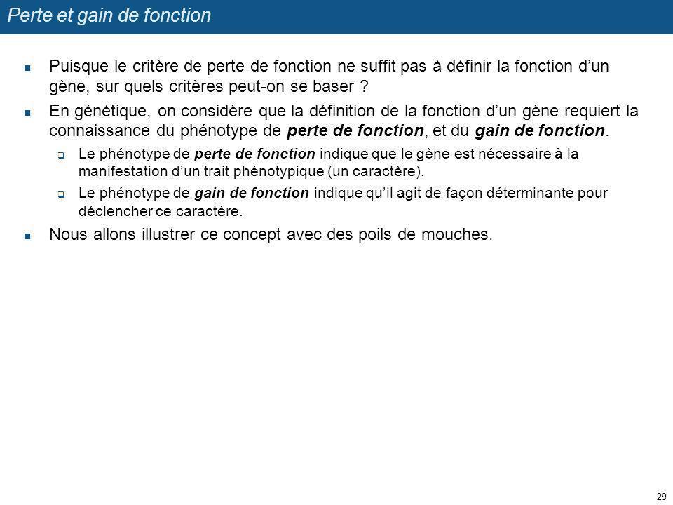 Perte et gain de fonction Puisque le critère de perte de fonction ne suffit pas à définir la fonction dun gène, sur quels critères peut-on se baser ?