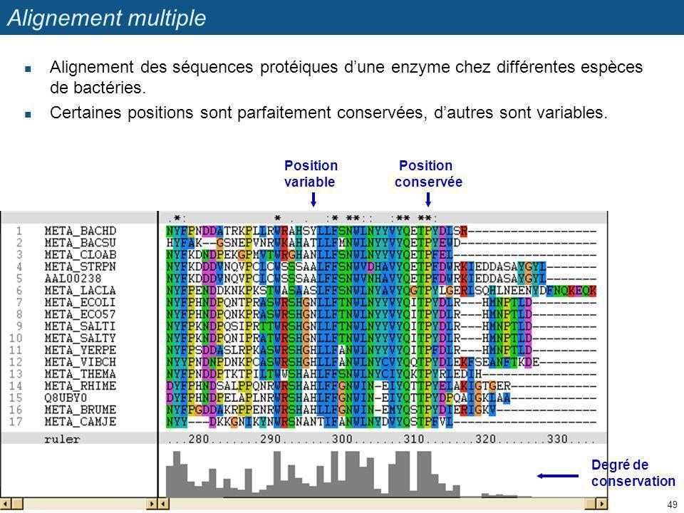 Alignement multiple Alignement des séquences protéiques dune enzyme chez différentes espèces de bactéries. Certaines positions sont parfaitement conse