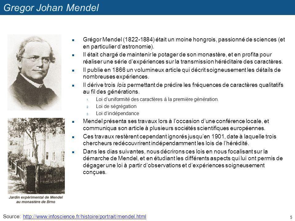 Gregor Johan Mendel Grégor Mendel (1822-1884) était un moine hongrois, passionné de sciences (et en particulier dastronomie). Il était chargé de maint