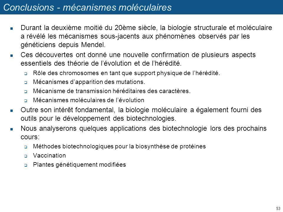 Conclusions - mécanismes moléculaires Durant la deuxième moitié du 20ème siècle, la biologie structurale et moléculaire a révélé les mécanismes sous-j
