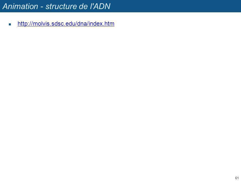 Animation - structure de l'ADN http://molvis.sdsc.edu/dna/index.htm 61