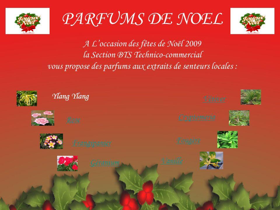 Vétiver Cryptomeria Fougère Vanille Rose Frangipanier Géranium Ylang PARFUMS DE NOEL A Loccasion des fêtes de Noël 2009 la Section BTS Technico-commer