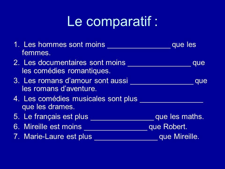 Le comparatif : 1. Les hommes sont moins _______________ que les femmes. 2. Les documentaires sont moins _______________ que les comédies romantiques.