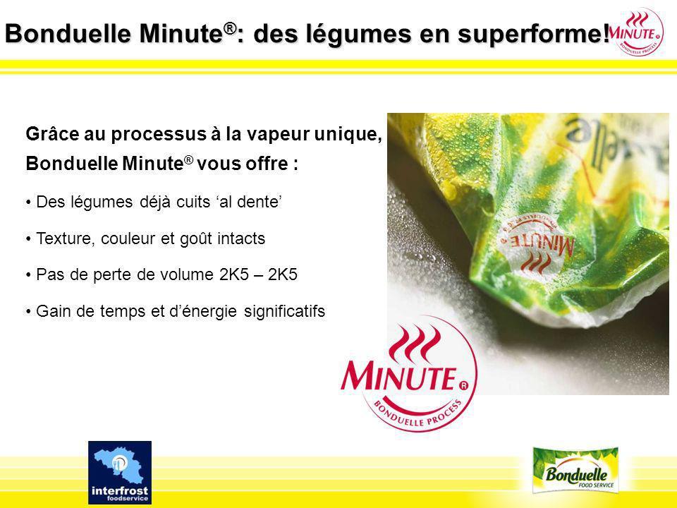 Bonduelle Minute ® : des légumes en superforme! Grâce au processus à la vapeur unique, Bonduelle Minute ® vous offre : Des légumes déjà cuits al dente