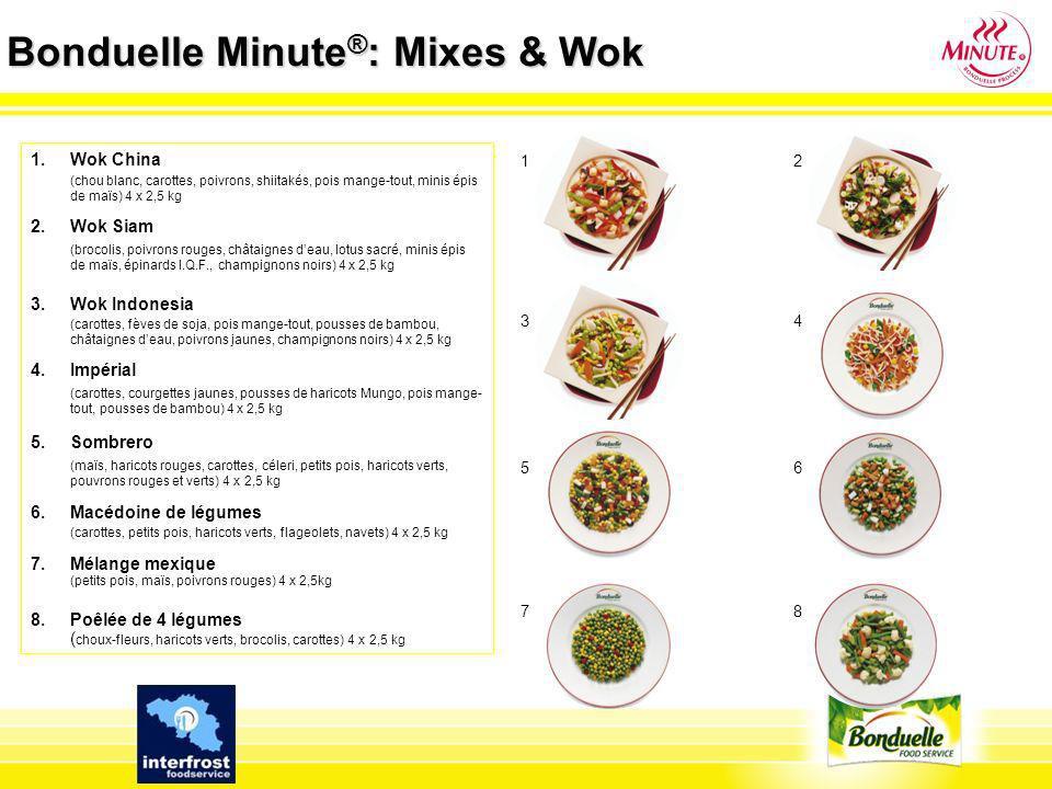 Bonduelle Minute ® : Mixes & Wok 1.Wok China (chou blanc, carottes, poivrons, shiitakés, pois mange-tout, minis épis de maïs) 4 x 2,5 kg 2. Wok Siam (