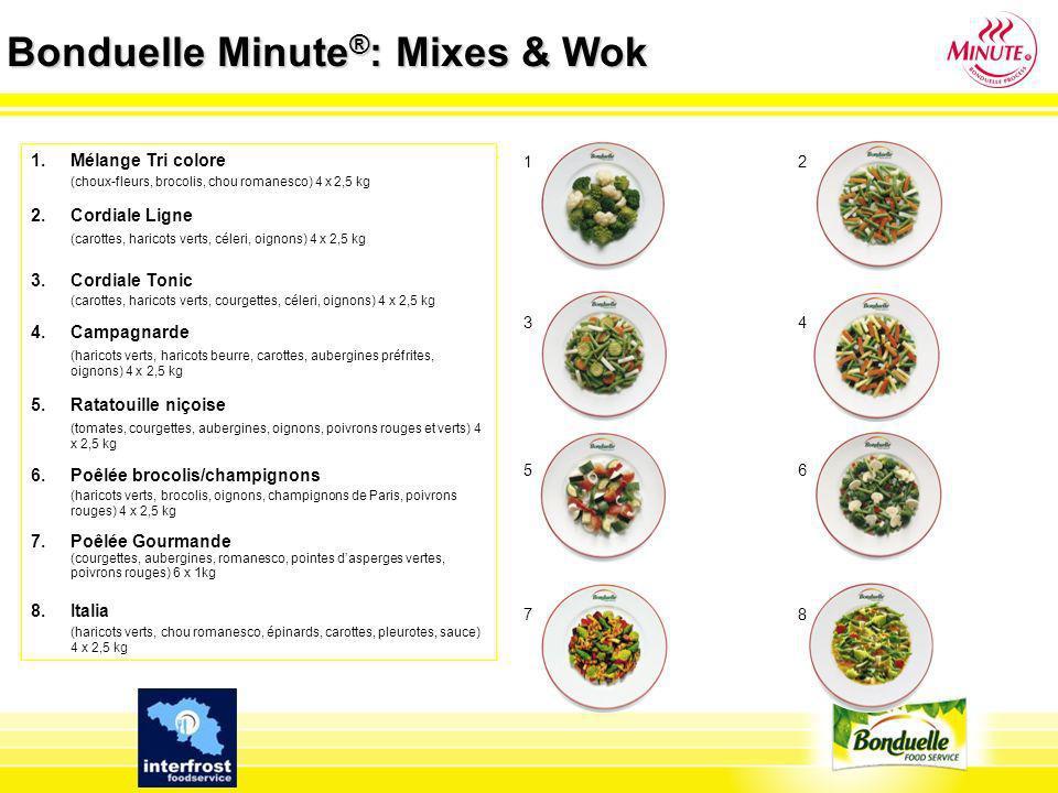 Bonduelle Minute ® : Mixes & Wok 1.España (haricots verts plats, courgettes, poivrons rouges et jaunes, oignons, sauce) 4 x 2,5 kg 2.