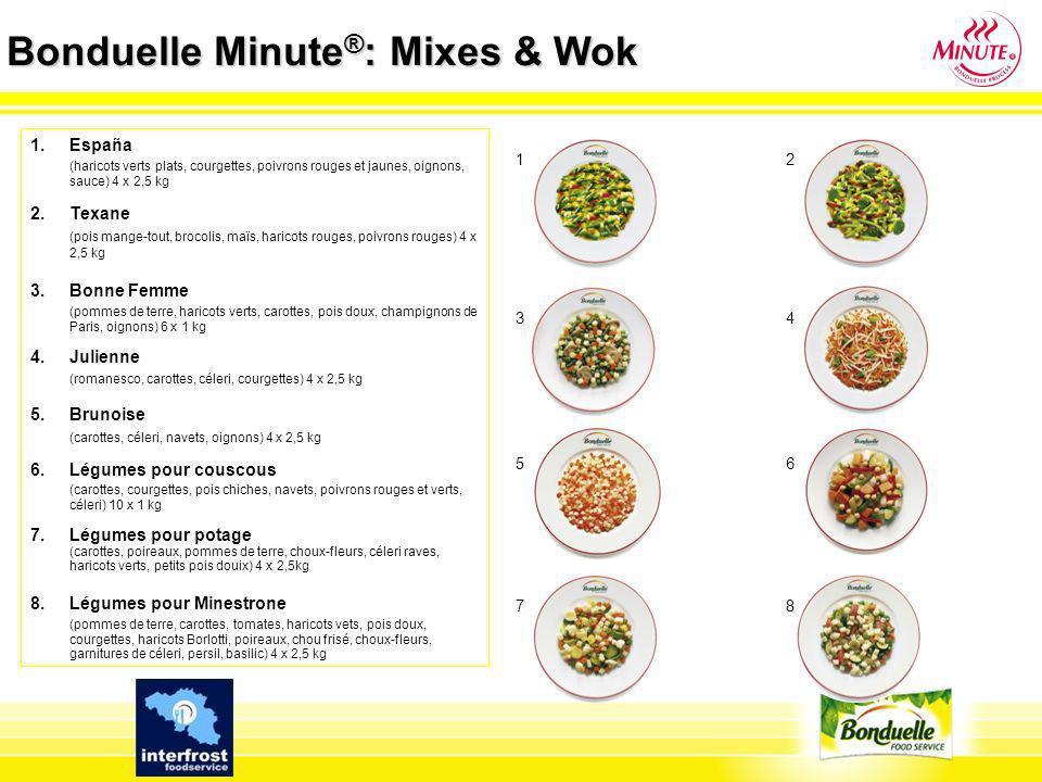Bonduelle Minute ® : Mixes & Wok 1.España (haricots verts plats, courgettes, poivrons rouges et jaunes, oignons, sauce) 4 x 2,5 kg 2. Texane (pois man
