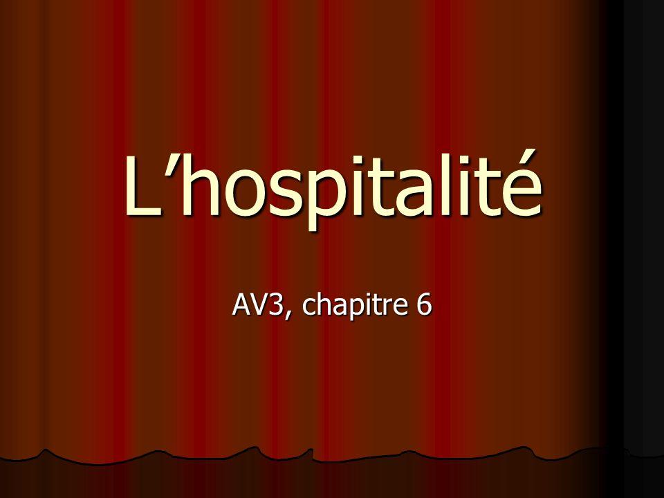 Lhospitalité AV3, chapitre 6