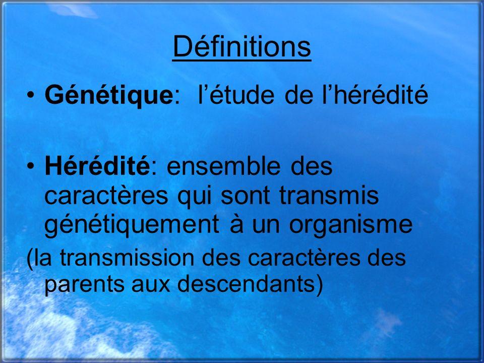 Définitions Génétique: létude de lhérédité Hérédité: ensemble des caractères qui sont transmis génétiquement à un organisme (la transmission des carac