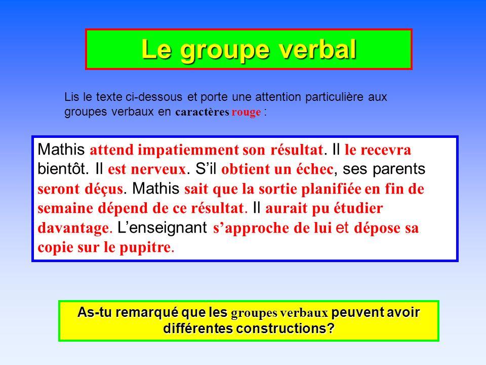 Le groupe verbal Lis le texte ci-dessous et porte une attention particulière aux groupes verbaux en caractères rouge : As-tu remarqué que les groupes verbaux peuvent avoir différentes constructions.