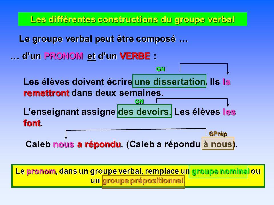 Les différentes constructions du groupe verbal Le groupe verbal peut être composé … … dun PRONOM et dun VERBE : Les élèves doivent écrire une dissertation.