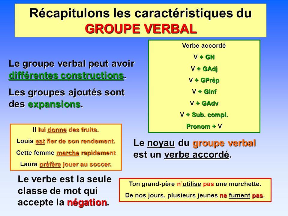 Récapitulons les caractéristiques du GROUPE VERBAL Le groupe verbal peut avoir différentes constructions.