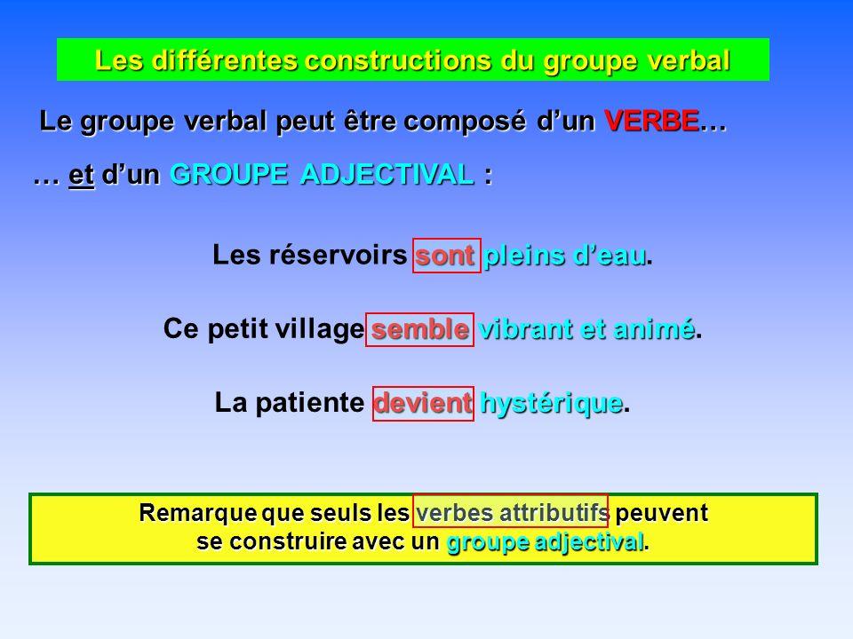 Les différentes constructions du groupe verbal Le groupe verbal peut être composé dun VERBE… … et dun GROUPE ADJECTIVAL : sont pleins deau Les réservoirs sont pleins deau.