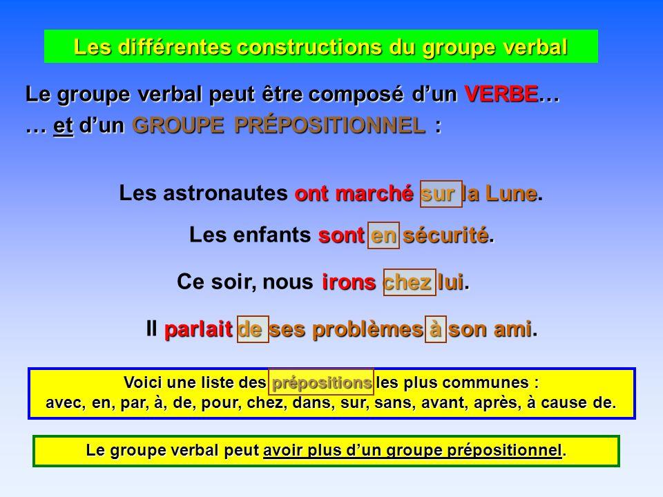 Les différentes constructions du groupe verbal Le groupe verbal peut être composé dun VERBE… … et dun GROUPE PRÉPOSITIONNEL : ont marché sur la Lune Les astronautes ont marché sur la Lune.