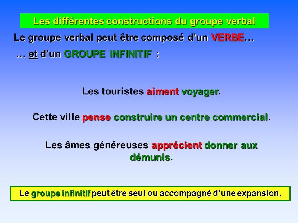 Les différentes constructions du groupe verbal Le groupe verbal peut être composé dun VERBE… … et dun GROUPE ADVERBIAL : répondirentspontanément Les élèves répondirent spontanément.