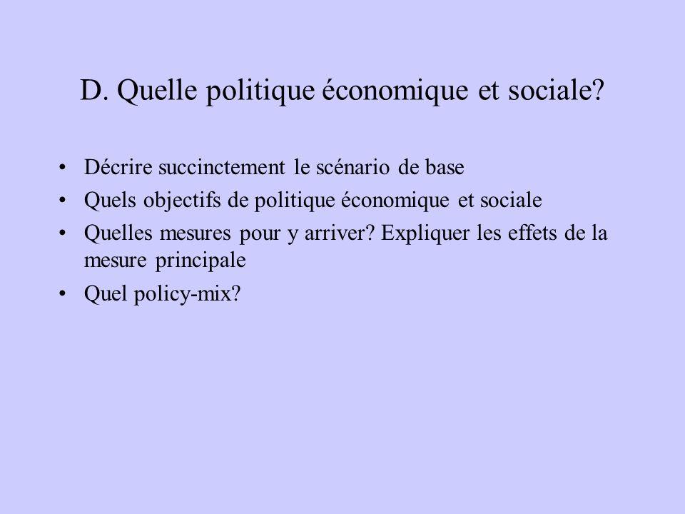 D. Quelle politique économique et sociale.