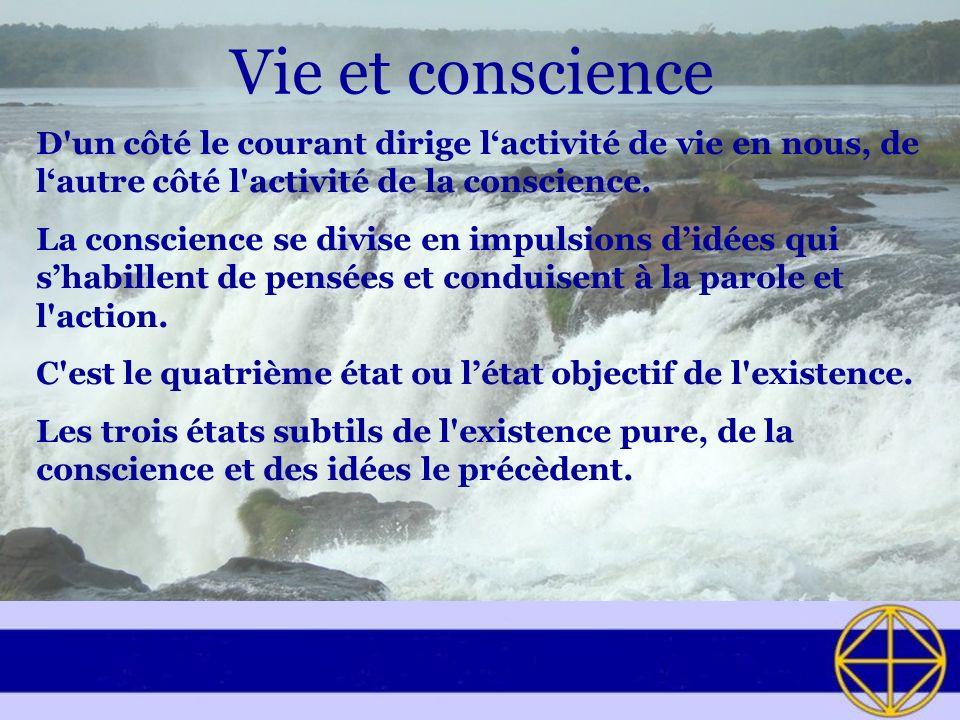 Vie et conscience D un côté le courant dirige lactivité de vie en nous, de lautre côté l activité de la conscience.